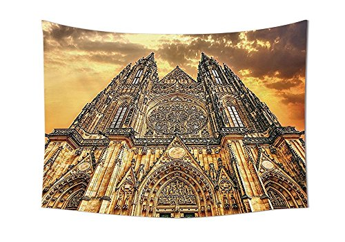 Gothic Decor Famous Cathedral European Church Catholic Gifts Sunset Tower Medieval Architecture Prague Picture Tapestry Wall Hanging Believe Art Christian Living Room Bedroom Dorm Decor Brown Orange by asddcdfdd