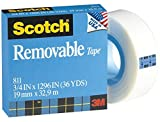 Scotch Brand Removable Tape, Non-Damaging, Matte Finish, Photo-Safe, Engineered for Displaying, 3/4 x 1296 Inches, 1 Inch Core (811)
