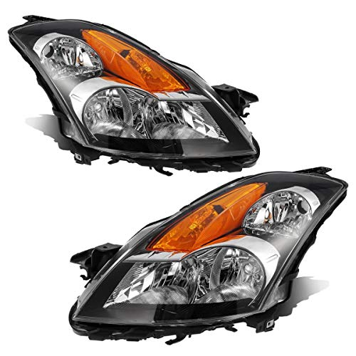 Partsam Headlight Assembly Compatible with Nissan Altima 2007 2008 2009 Sedan Side Left Right Headlamp Replacement Black Housing Amber Reflector Clear Lens (Driver and Passenger Side)