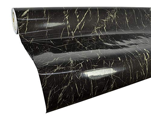 Black Marble Gloss Granite Effect Contact Paper Film,Self Adhesive Vinyl Wallpaper Sticker Sticky Stone Look Wall Stickers for Home,Kitchen,Wall,Counter Top,Table-Removable Peel & Stick 24in x 6.56ft