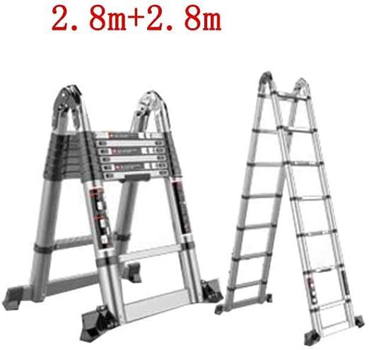 GLJJQMY Escalera Plegable hogar multifunción Engrosamiento telescópico Escalera de ingeniería Espiga Recta Doble Escalera de aleación de Aluminio (Size : 2.8m+2.8m): Amazon.es: Hogar