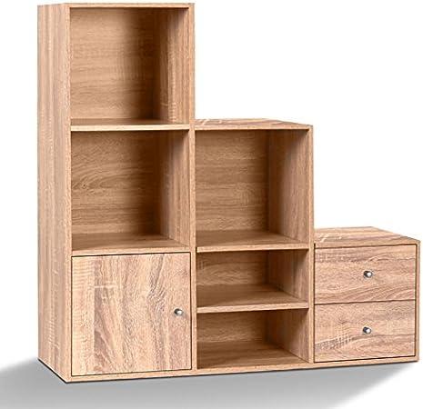 IDMarket – Mueble de escalera, 3 niveles madera imitación haya con puerta y cajones: Amazon.es: Bricolaje y herramientas