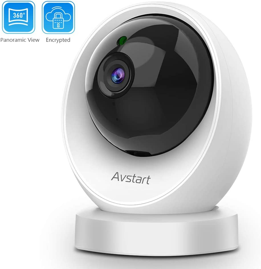 1080P Home Security Camera – Avstart Indoor 2.4Ghz WiFi IP Camera with Panoramic Navigation, Night Vision Two-Way Audio – Home Surveillance Pet Baby Camera with Cloud Storage MicroSD