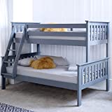 Happy Beds Atlantis Grey Finished Solid Wooden Triple Sleeper Bunk Bed Frame