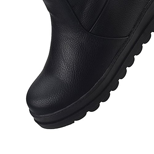 Allhqfashion Women's Solid PU Kitten-Heels Pull-On Round Closed Toe Boots Black gfQyB2r