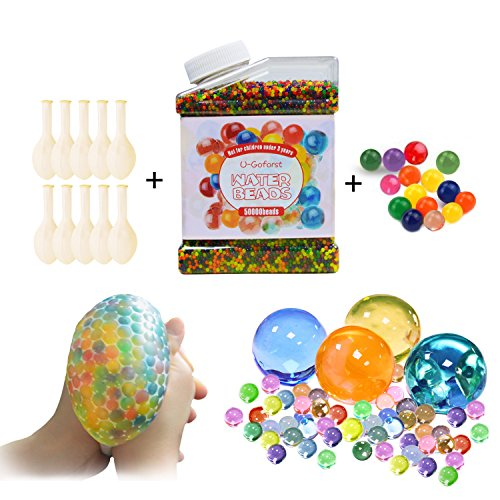 Water Beads Pack (50000 Beads /15Large Jumbo Beads /10 Balloons) Rainbow Mix Kids Water Gel Orbeez Beads, Jelly Water Growing Balls for Orbeez Spa Refill, Kids Tactile Sensory Toys, Plants Vase, Party