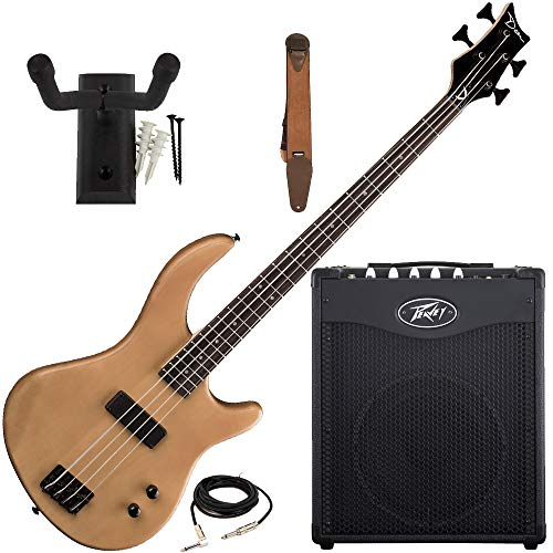 Dean Edge 09 Natural Bass Guitar, Peavey Max 112 Amp, Suede Strap, Hanger