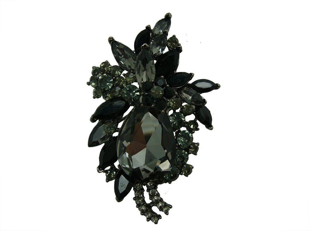 TTjewelry Vintage Flower Drop Pendant Brooch Pin Black Austria Crystal