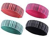 Peach & Pepper Women 4PCS Sports Reflective Stripe Elastic Wicking Baller Sweatband Headband for Running Yoga Fitness Exercise