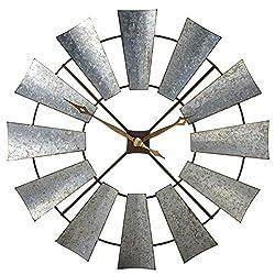 Midwest-CBK Ganz Galvanized Windmill Wall Clock.