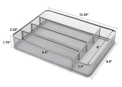 ESYLIFE 5 Compartment Mesh Kitchen Cutlery Trays Silverware Storage Kitchen Utensil Flatware Tray, Silver by Esy-Life (Image #2)