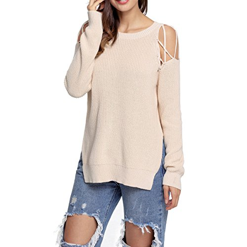 YOUR GALLERY Women's Round Neck Cross Lace Up Cold Shoulder Side Split Knitted Sweaters,Apricot,XXL