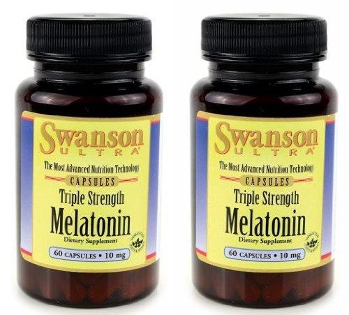 Swanson Ultra Triple Strength Melatonin -- 2 Bottles each of 10mg 60 Capsules