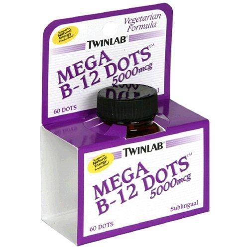 Twinlab Mega B-12 Points de vitamine B-12, 5000mcg, 60 comprimés (lot de 2)