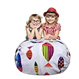 Stuffed Animal Storage Bean Bag Chair | Premium Canvas Storage Solution | Best Storage Bag with Extra Long Zipper - Fashion Colorful Fish Pattern