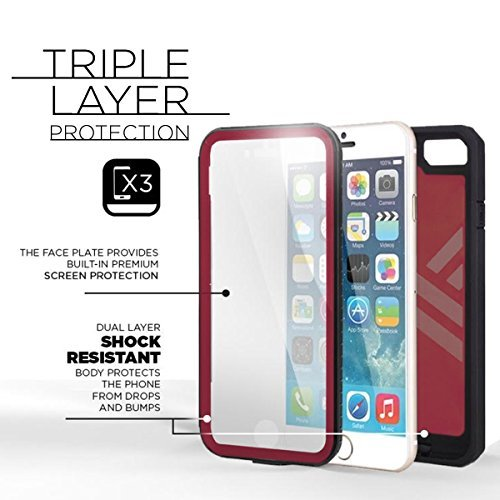 iPhone 6 6S Shockproof Case & Belt Clip Holster with Built-in Screen Protector [Pantera Series] (Encased® Lifetime Warranty) **New 2016 Release** (Fire Engine Red)