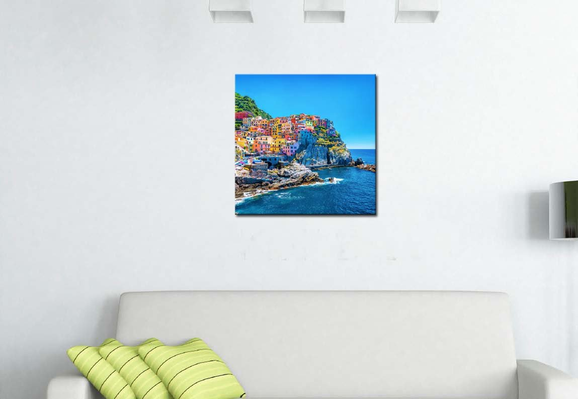 My Easy Art/® Modern Canvas Painting Wall Art The Picture For Home Decoration Cityscape Traditional Port Mediterranean Sea Cinque Terre Italy Coast Landscape Print On Canvas Giclee Artwork For Wall Decor