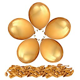 PartyWoo 100 Pack 12 Inches Gold Color Latex Balloons Party Decoration Accessories & Party Favors