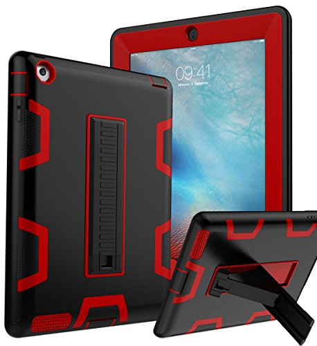 iPad 2 Case,iPad 3 Case,iPad 4 Case, TOPSKY [Kickstand Feature],Shockproof/High Impact Resistant Hybrid Three Layer armorbox Defender Protective Case for 2/3/4 (Only for 9.7 inch iPad), Black/Red