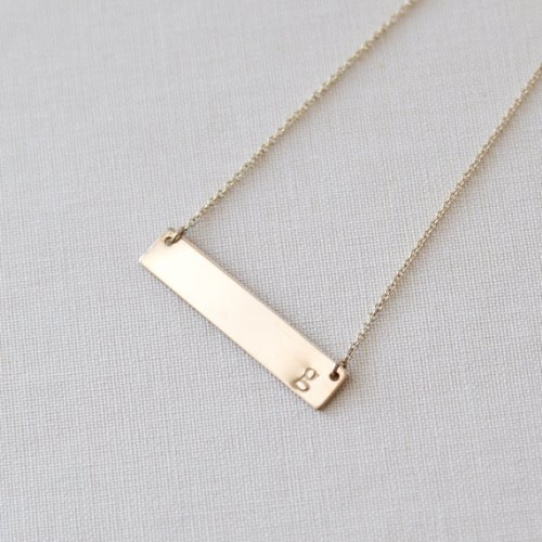 Gold Horizontal Initial Bar Necklace Handmade Letter t Initial Hand Stamped
