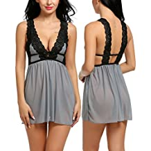 ADOME Womens Lace Lingerie Babydoll Mesh Chemise V Neck Nightwear Outfit