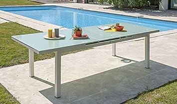GARDEN PARK Table de Jardin Extensible alu Blanc et Verre ...