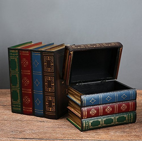 Chris.W Wooden Antique Book-Like Bookends with Hidden Storage Box Classic Decorative Library Book Ends, Set of 2(Large + Small) ()