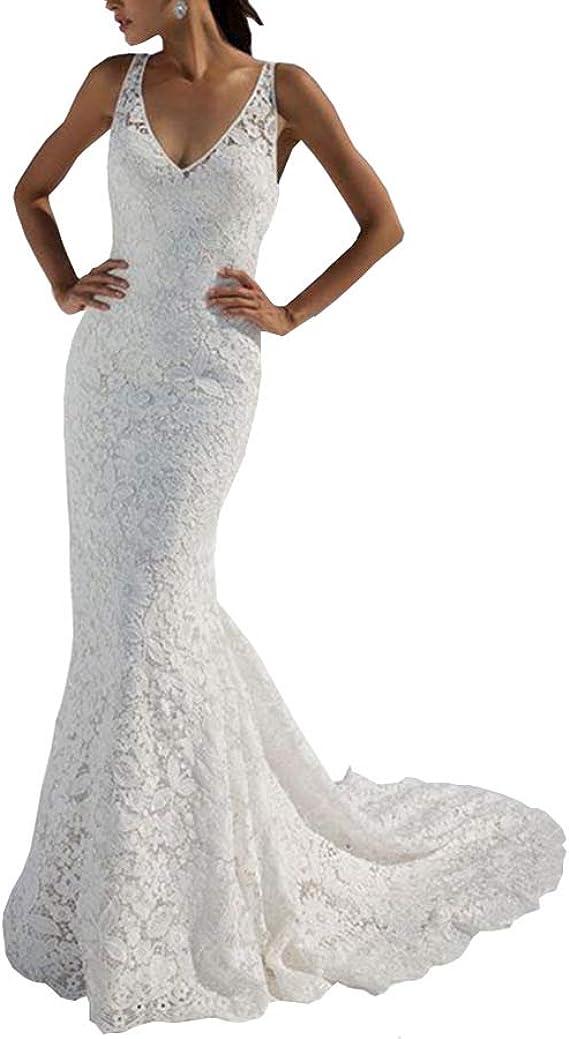 YIPEISHA Wedding Dress Cap Sleeveless Mermaid Bridal Dress for Wedding with Covered Button Back