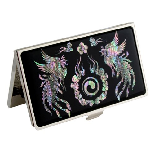 Antique Alive Mother of Pearl Phoenix and Yin Yang Design Black Metal Slim Business Credit Card Holder Wallet (B114)