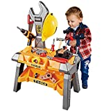 Young Choi's Kids Toy Tool Workbench, 88 Pieces King Size Kids Power Tool Bench Construction Set with Tools Toy Drill and Helmet, Toddlers Toy Tools for Boys (88 PCS)