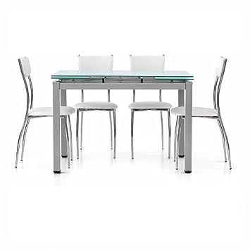 Inhouse Srls Table Extensible Plateau Verre Comportant 2 Rallonges De 35 Cm Style Moderne Avec Structure En Metal Gris Satine Dim 110 X 70 X 75