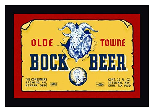 """Olde Towne Bock Beer by Vintage Booze Labels - 27"""" x 39"""" Black Framed Giclee Canvas Art Print - Ready to Hang"""