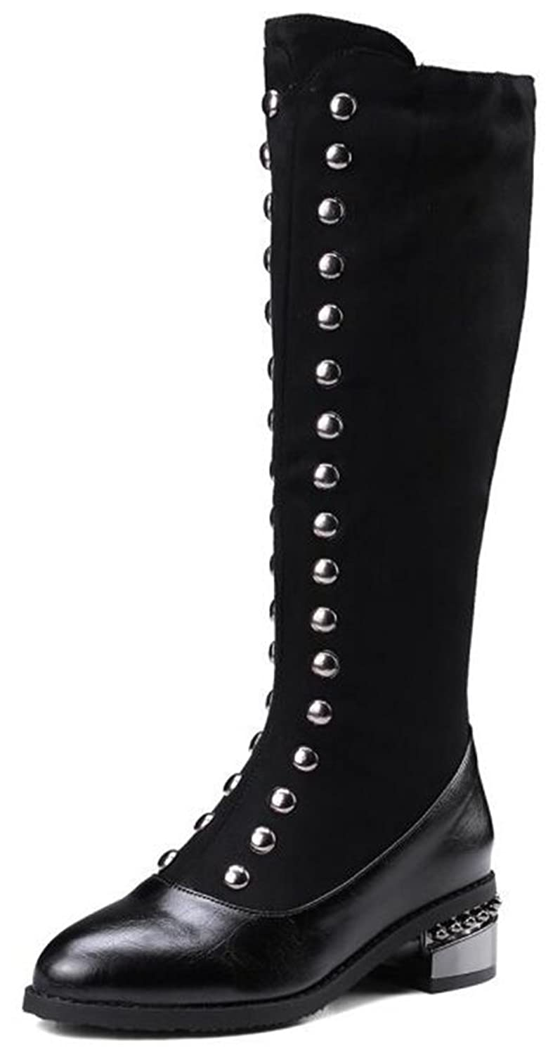 Women's Unique Studded Mid Chunky Heels Side Zipper Long Riding Boots Mid Calf Booties