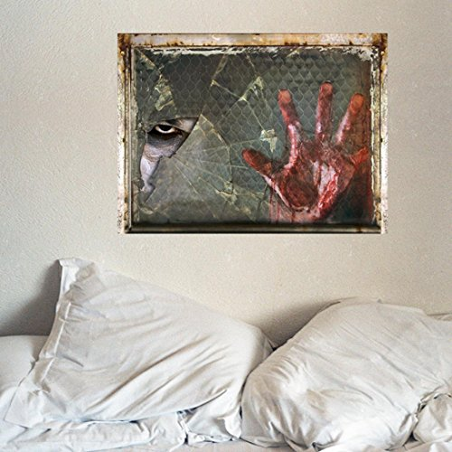 3D Halloween Wall Sticker Decoration, QISC Outgeek Female Ghost Breaking Wall Halloween Removable Home Decal Vinyl Art Decor (Multicolor C)