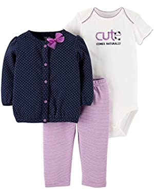 Just One You Girls' 3 Piece Cardigan Dot Cardigan Set- Purple