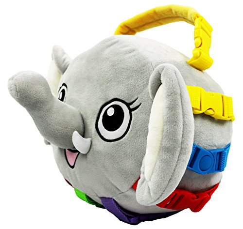 "BUCKLE TOY ""Bailey"" Elephant – Toddler Early Learning Basic Life Skills Children's Plush Travel Activity"