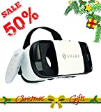 3D VR Headset with Remote Virtual Reality Glasses for 3D Movies and VR Games Works with iOS / Android / Windows Focal and Pupil Distance Adjustable for 3.5-5.7 inches Prime Comfortable