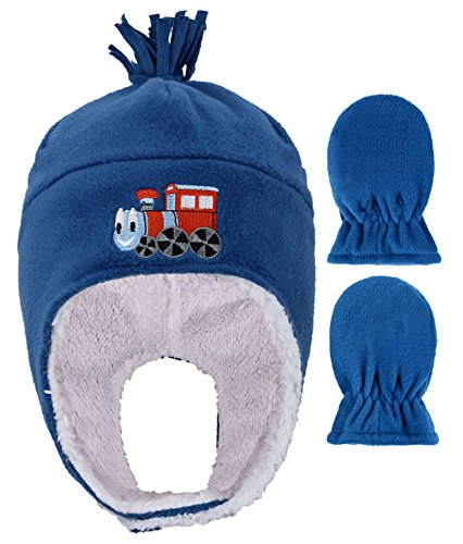 Boys Polar Fleece Winter Set Hat and Mittens for Toddlers,Train (Embroidered Mittens)