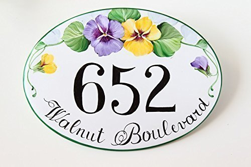 Ceramic Hand Painted House Numbers, House Number Plaque for Home, Address Sign