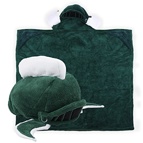 Comfy Critters Stuffed Animal Blanket - College Mascot, Michigan State University 'Sparty' - Kids huggable pillow and blanket perfect for the big game, tailgating, pretend play, travel, and much more Michigan State Fleece Blanket