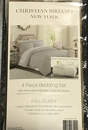 Christian Siriano Down-Alternative 4-Piece Comforter Set Full/Queen - Gray by Christian Siriano