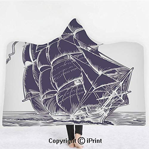"Nautical 3D Print Soft Hooded Blanket Boys Girls Premium Throw Blanket,Old Sail Boat in the Ocean on White Background Pirate Treasure Retro Illustration Decorative,Lightweight Microfiber(Kids 50""x60"")"