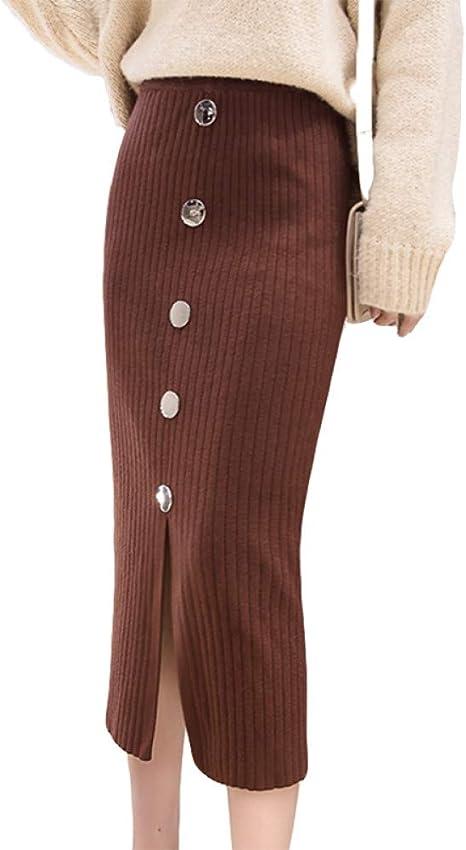 FSDFASS Faldas Cintura Alta Lápiz de Punto Falda Mujer Otoño ...