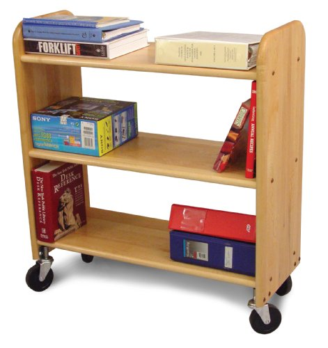 Wood Book Cart (Catskill Craftsmen Library Book Truck with Flat Shelves, Natural Birch)