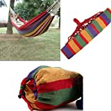 LUQUAN Canvas Stripe Hang-Style Hammock Sleeping Bed For Outdoor Camping Travelling-Red