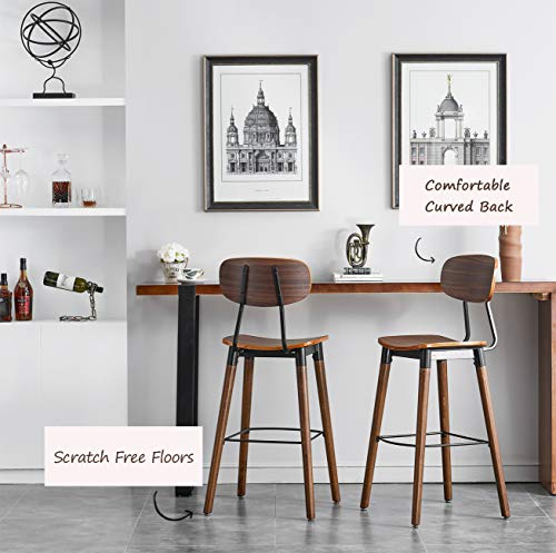 O&K FURNITURE 30-Inch Pub Bar Height Barstool, Modern Industrial Dining Bar Stool Chairs with Wood Seat and Backrest, Rustic Brown Finish (1- PC)