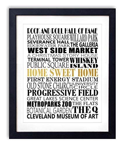 (Gold Foil Art Print - Cleveland City Landmarks Typography With Gold Foil Home Sweet Home 8x10 inches - Unframed)