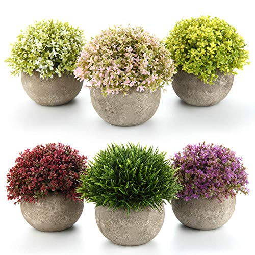 T4U Artificial Plastic Plants with Pots Mini Size for Home Office Wedding Decoration Pack of 6