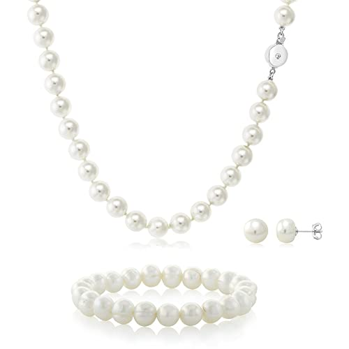 Amazon Com White 3 Piece Cultured Freshwater Pearl Necklace