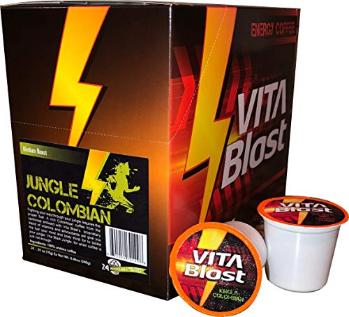 Vita Blast 24 ct Jungle Colombian Vitamin Infused Coffee Recyclable Single Serve Cup Vitamin A, B1, B2, B3, B5, B6, B12, C, D3, E, Guarana Extract, Green Tea Extract, and Biotin
